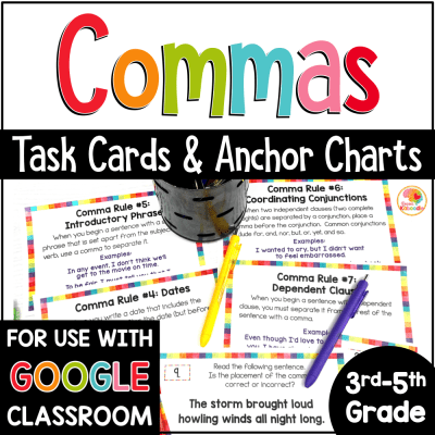 Commas Activities and Task Cards COVER