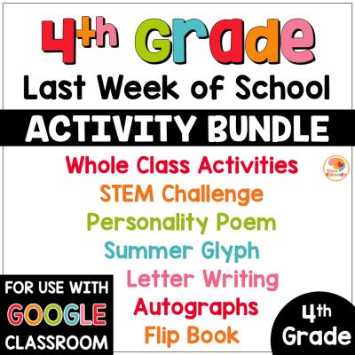 Last Week of School Activities for 4th Grade COVER