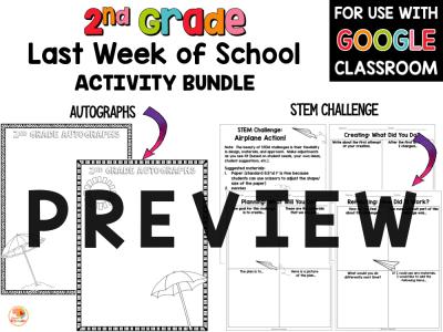 Last Week of School Activities for 2nd Grade PREVIEW