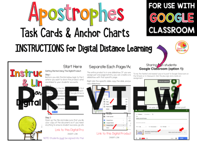 Apostrophes Task Cards and Anchor Charts Activities PREVIEW