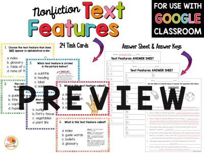 Nonfiction Text Features Activities PREVIEW