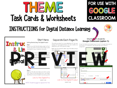 Theme Task Cards and Printables Digital Option PREVIEW