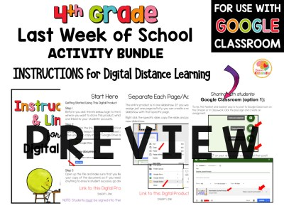 Last Week of School Activities for 4th Grade PREVIEW