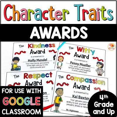 Character Traits Awards for Upper Grade PREVIEW
