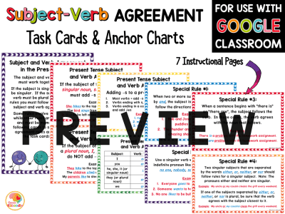 Subject Verb Agreement Anchor Charts and Task Card Activities PREVIEW