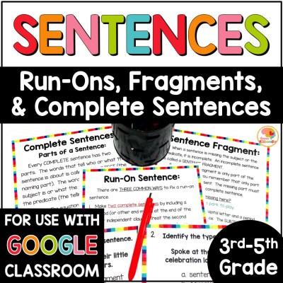 Sentence Fragments, Sentences, and Run On Sentences Activities COVER