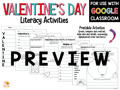 Valentine's Day Literacy Activities PREVIEW