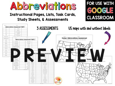 Abbreviations Activities for Distance Learning PREVIEW