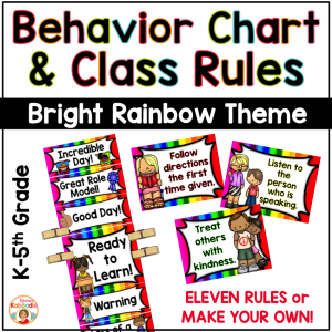 Behavior Chart and Classroom Rules - Rainbow Theme