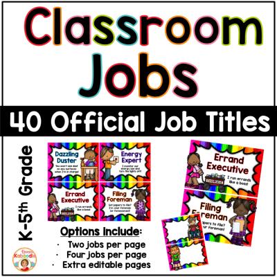 Classroom Jobs - Rainbow Theme