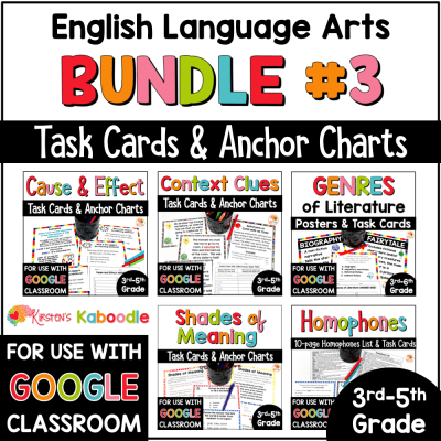English Language Arts Task Cards Bundle #3 for 3rd, 4th, and 5th Grade Distance Learning COVER