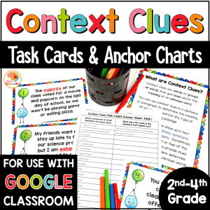 Context Clues Task Cards and Anchor Charts 2nd to 4th COVER