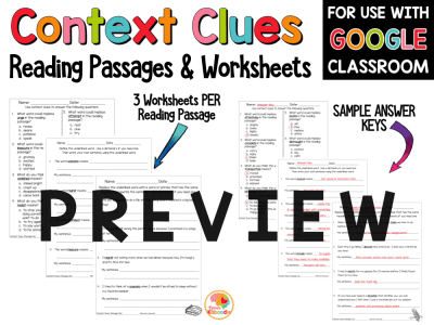 Context Clues Reading Passages for 2nd, 3rd, and 4th Grade with Digital Distance Learning Option