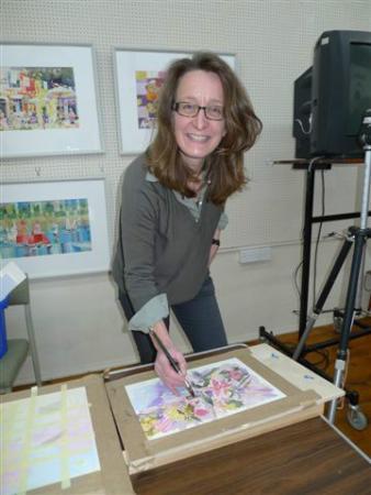 Kirstin White Demonstrating at Romsey Art Club