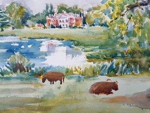 Cattle beside the pond at Avington Park Watercolour