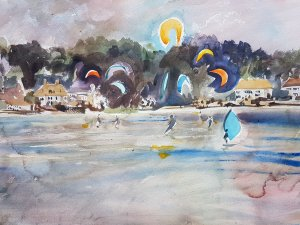 Kite Surfing in Poole Watercolour