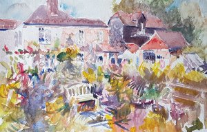 Shawford gardens in the summer rain ( watercolour)