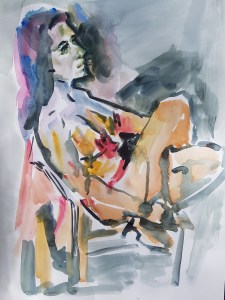 Watercolour of a model