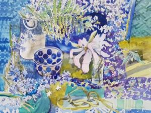 Magnolia. Fern. Bluebells. Blackthorn. Blues.