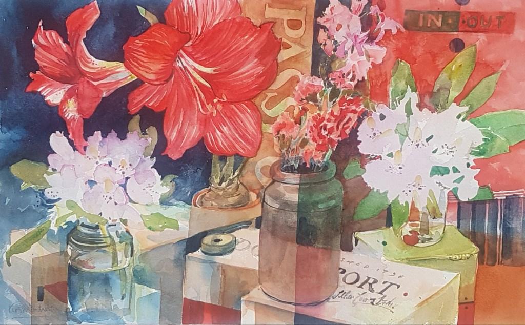 Amaryllis. Rhododendron. Still Life. Divide.
