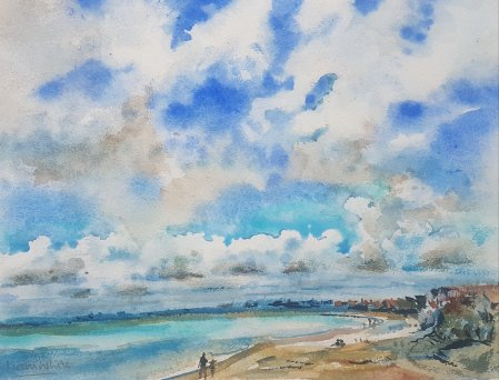 A watercolour beach scene