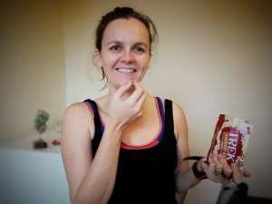 Post-workout snack with trek cranberry protein energy chunks