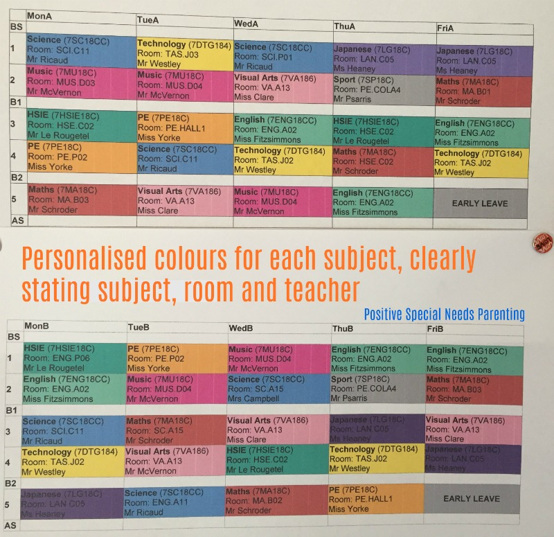 Colour-coded high school timetable - https://kirstyrussell.com.au