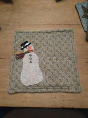 Snowman mug mat - reclaimed sweater and flannel