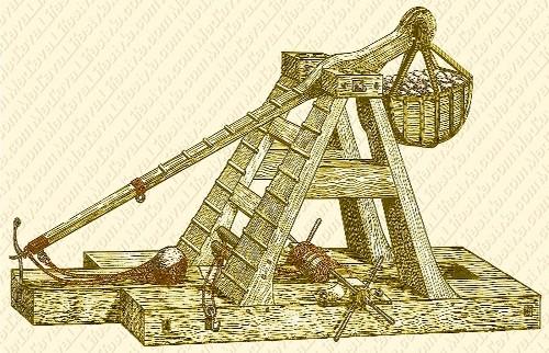 Manjaniq: Alat perang tradisional yang digunakan untuk menghancurkan benteng musuh.
