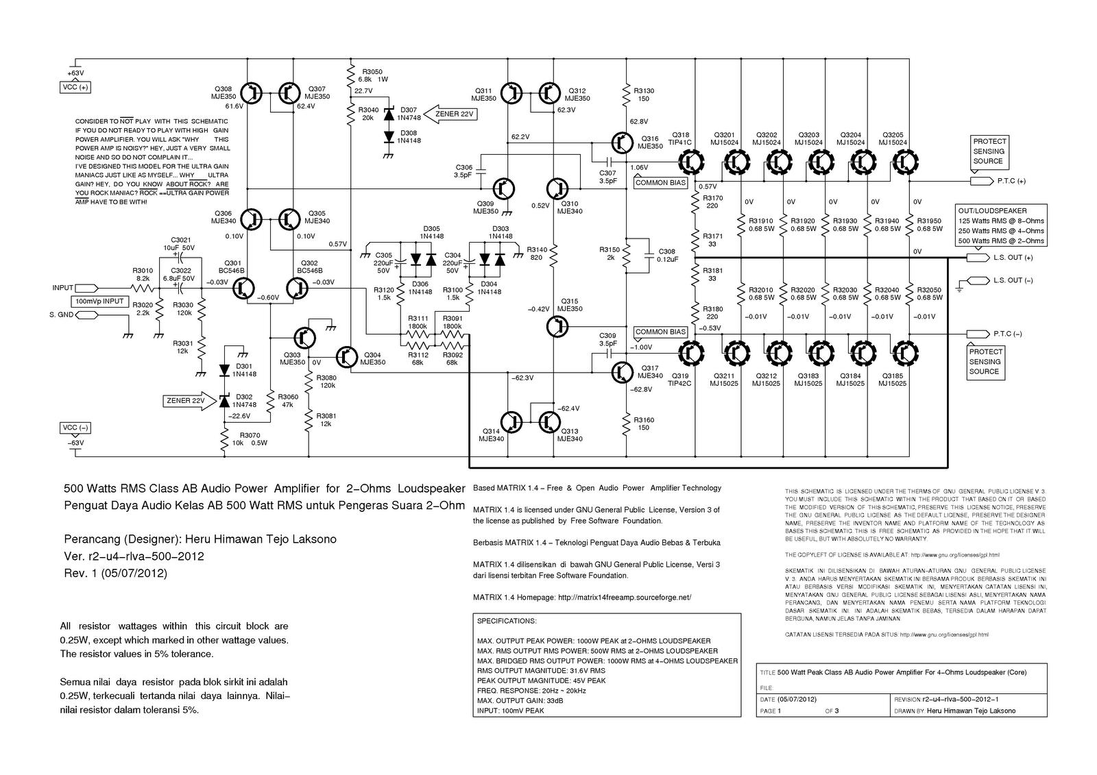 Matrix 1 4 R2 U4 Rlva 500 Watt For 4 Ohm Speaker