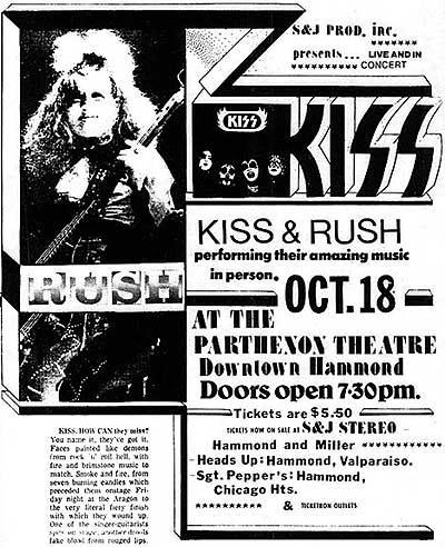 Annons för spelningen den 18 october, 1974.