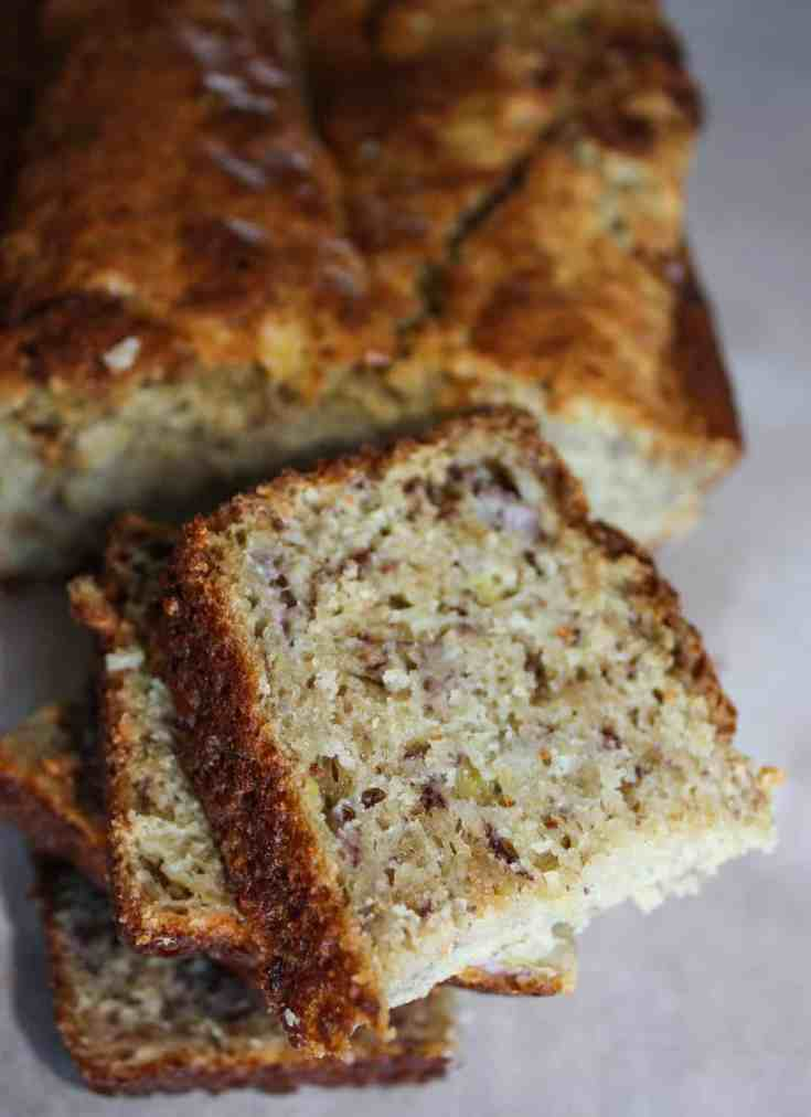 This moist banana bread is a staple in our home. It is one of the first recipes I converted when I learned I could no longer eat gluten.