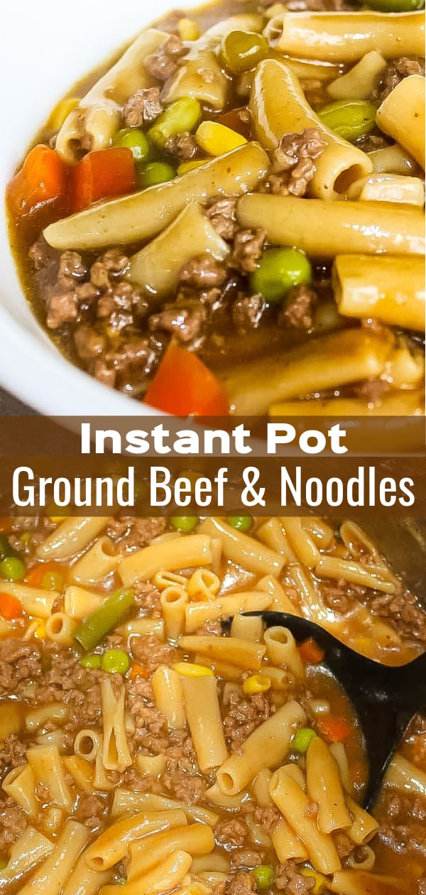 Instant Pot Ground Beef and Noodles is a gluten free dinner recipe perfect for fall. This hearty ground beef dish is loaded with gluten free pasta and vegetables.