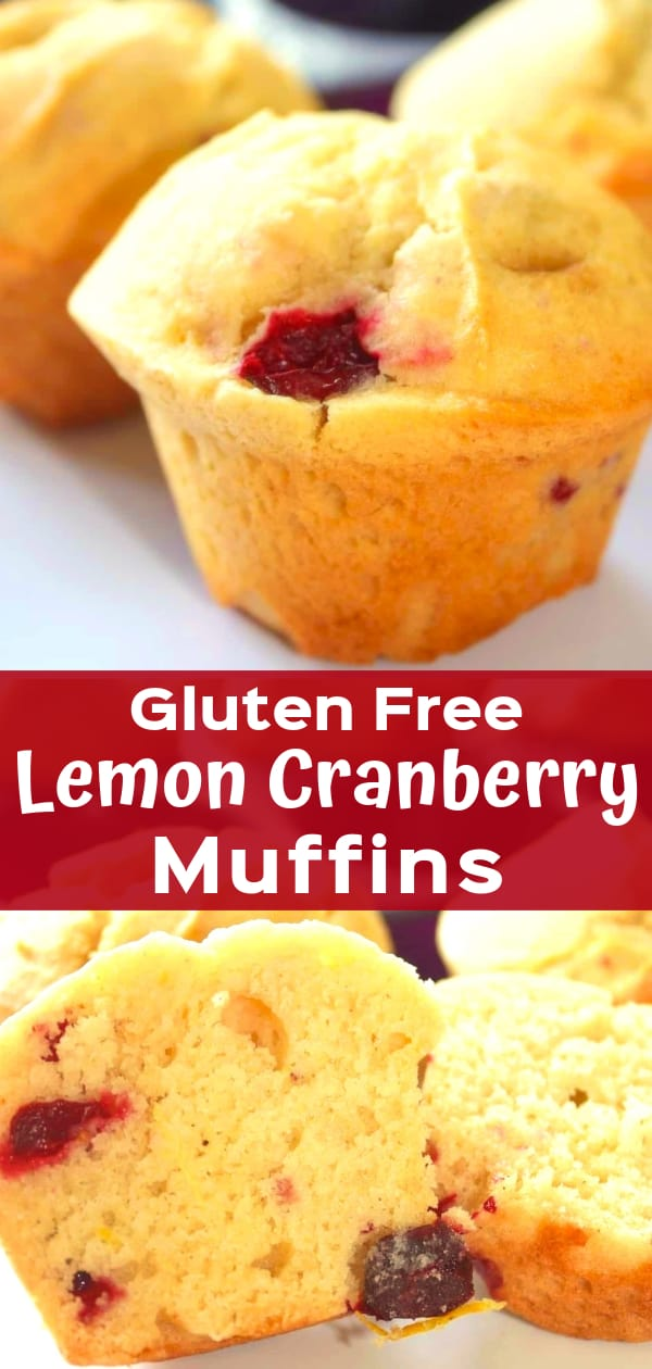 Gluten Free Lemon Cranberry Muffins are a delicious snack or breakfast treat. These easy homemade muffins are made with Bob's Red Mill gluten free flour, lemon zest, lemon juice and loaded with chopped cranberries.