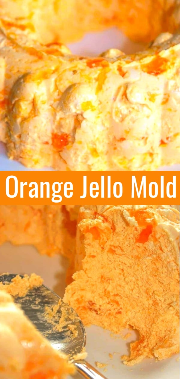 Orange Jello Mold is a delicious side dish or dessert recipe perfect for serving with holiday dinners. This jello salad made with mandarin oranges, orange jello and Cool Whip is the perfect addition to your Thanksgiving table.