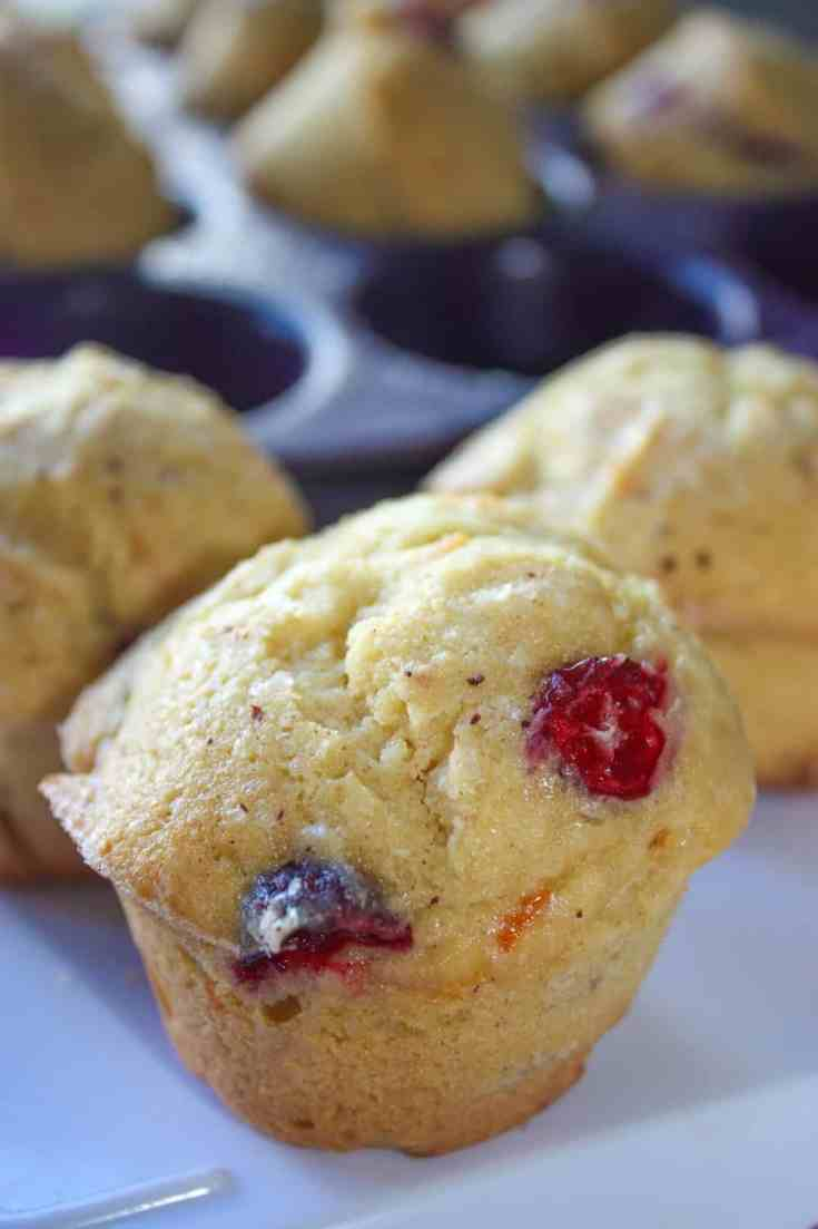Another great fall flavour is the blend of cranberries and orange. Here is a twist on the Lemon Cranberry Muffin recipe which I posted earlier.