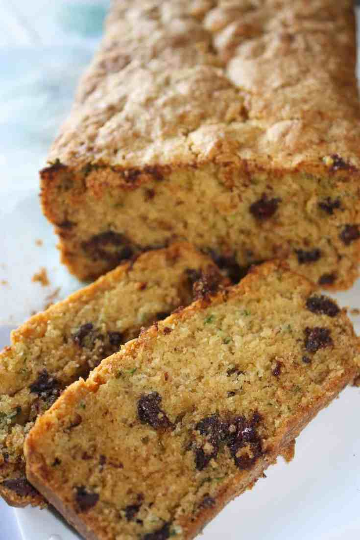 Zucchini Loaf is a tasty way to use up some of your fall harvest.  Whether or not you choose to add the chocolate chips this loaf will be a hit with young and old alike!