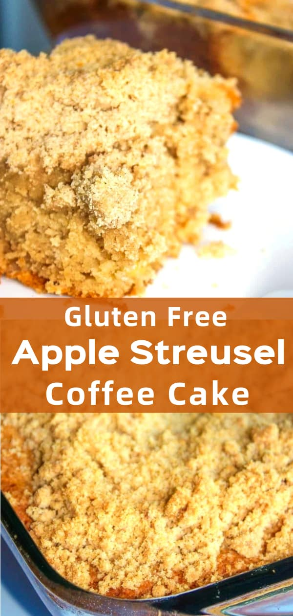 Gluten Free Apple Streusel Coffee Cake is a delicious gluten free dessert recipe perfect for fall. This tasty apple cake is made with Bob's Red Mill gluten free flour and loaded with cinnamon and brown sugar.