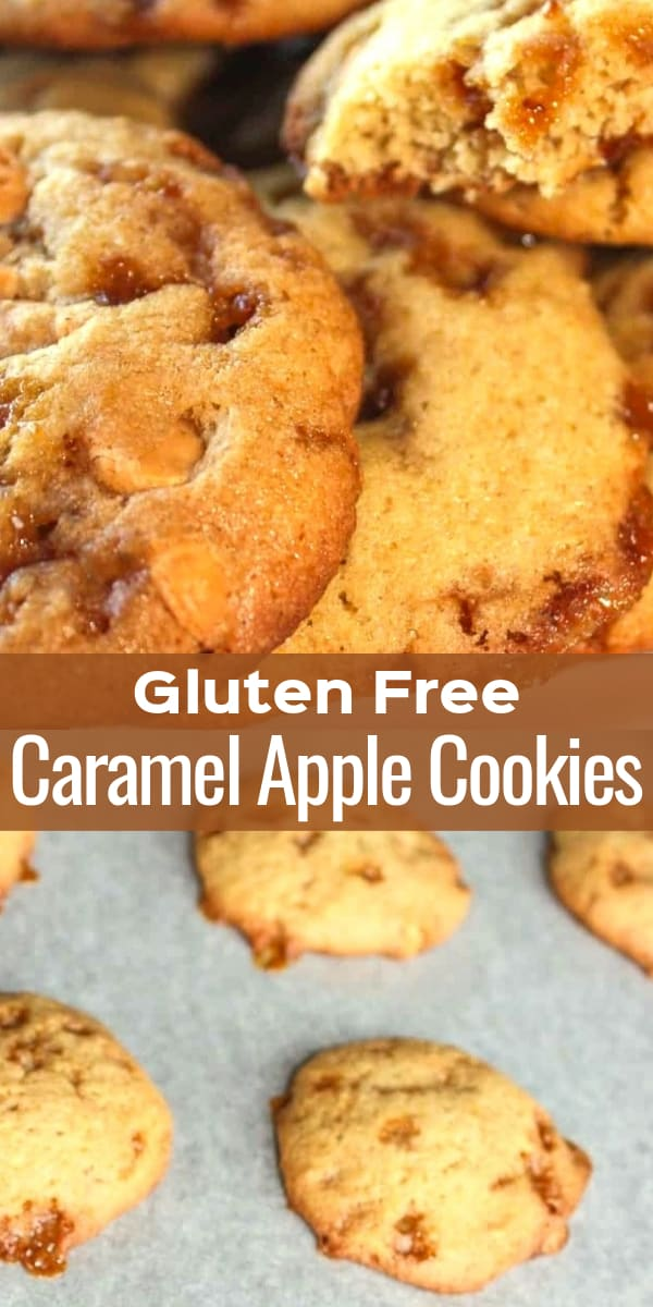 Gluten Free Caramel Apple Cookies are delicious chewy cookies loaded with apple sauce, Skor bits and butterscotch baking chips.