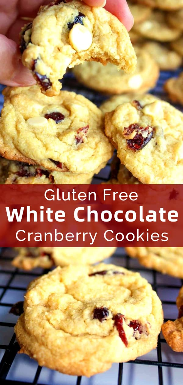 Gluten Free White Chocolate Cranberry Cookies are a tasty gluten free dessert recipe perfect for the holidays. These chewy cookies are made with Bob's Red Mill gluten free flour and loaded with white chocolate chips and dried cranberries.