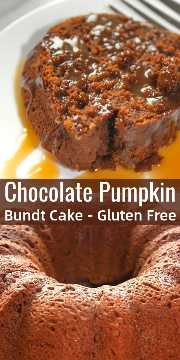 Chocolate Pumpkin Bundt Cake is a delicious gluten free dessert recipe perfect for pumpkin lovers. The gluten free chocolate bundt cake is loaded with pumpkin puree and drizzled with caramel sauce.