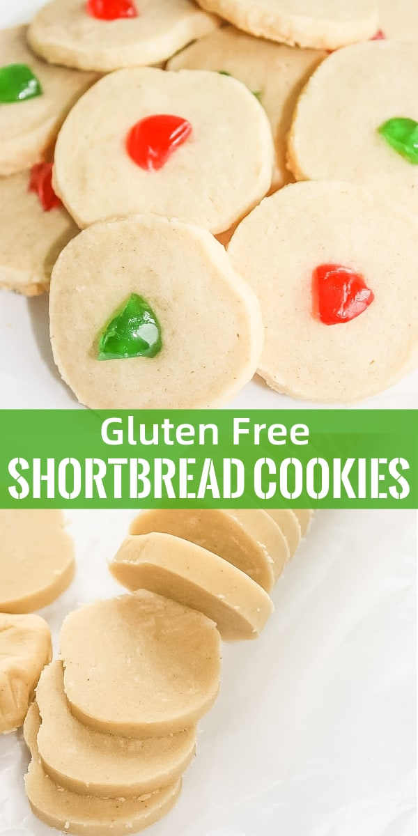 Gluten Free Shortbread Cookies are a festive holiday treat topped with red and green cherries. These gluten free Christmas cookies are made with Bob's Red Mill flour.