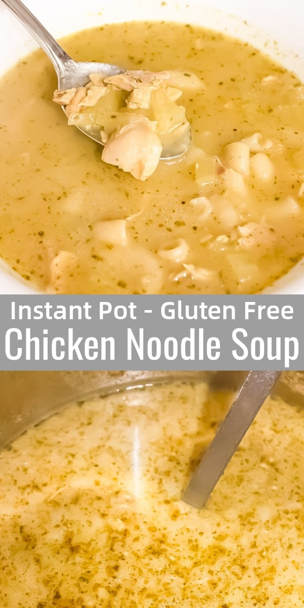 Instant Pot Chicken Noodle Soup is a delicious gluten free pressure cooker recipe perfect for cold weather. This homemade chicken noodle soup is made with chunks of precooked chicken and gluten free pasta.