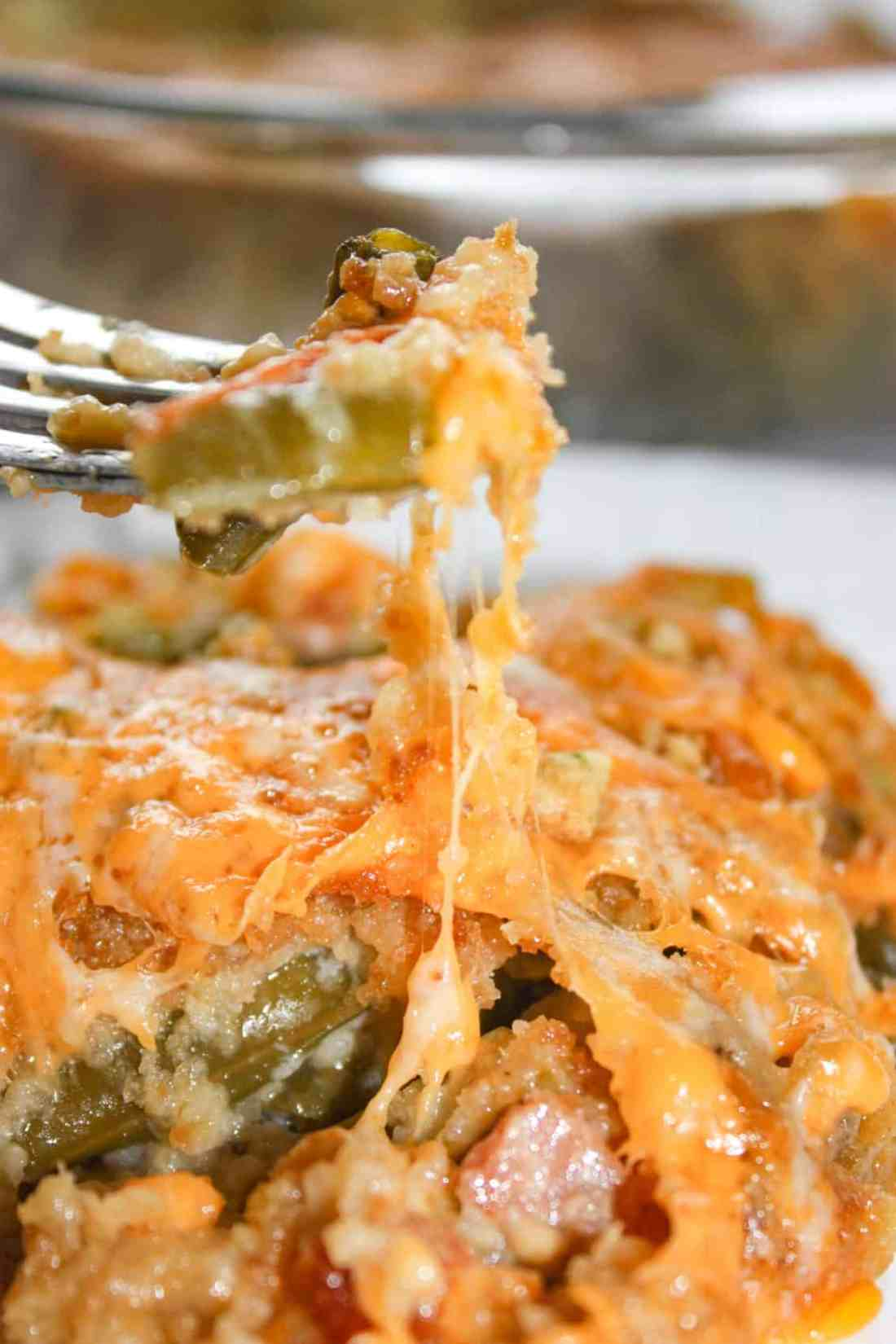 Green Bean Casseroles are a traditional side dish in many homes.  This Cheesy Garlic Green Bean Casserole is a flavourful gluten free variation that will be sure to please the palates of both family and guests.