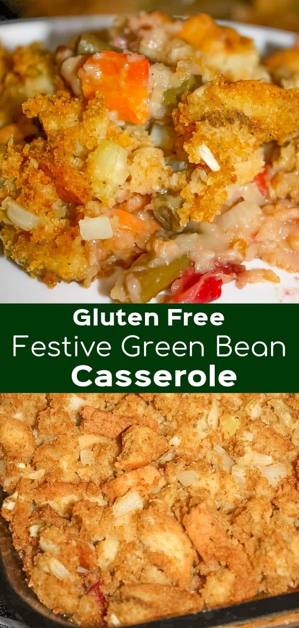 Festive Green Bean Casserole is a delicious gluten free side dish recipe perfect for the holidays. This gluten free green bean casserole is laoded with chopped veggies, cranberries and walnuts.