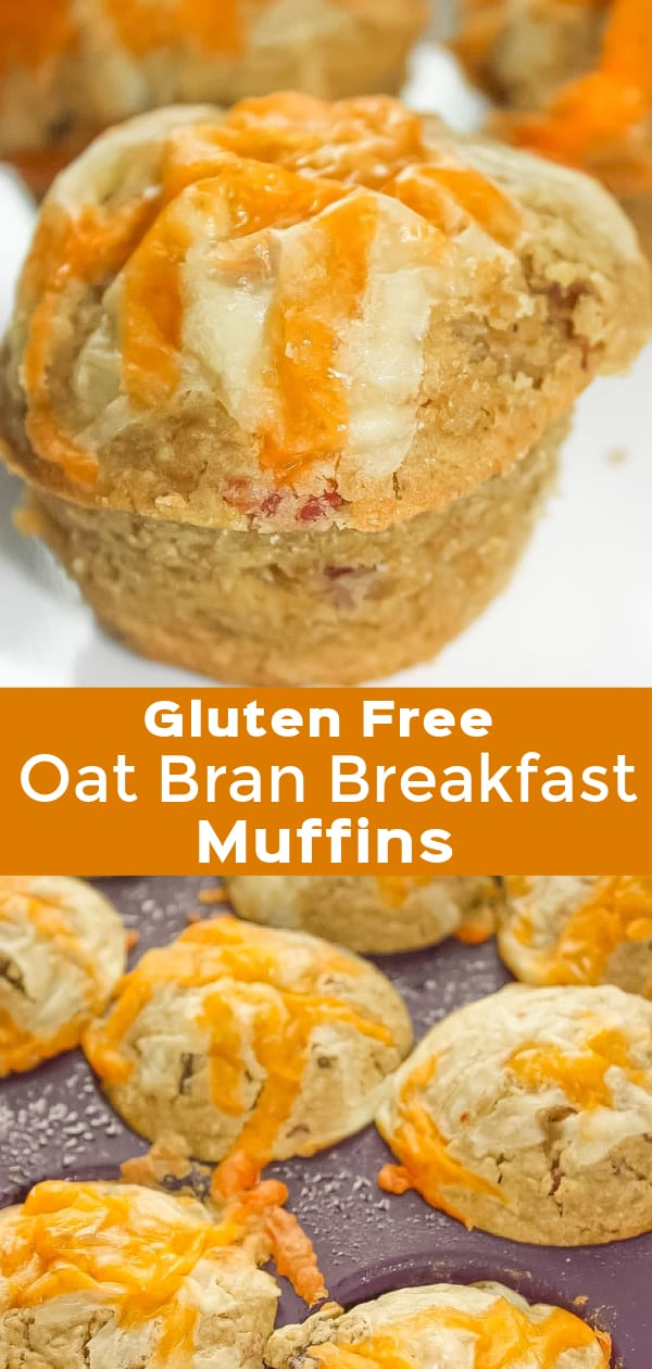 Gluten Free Oat Bran Breakfast Muffins are a tasty breakfast or snack recipe. These oat bran muffins are loaded with bacon crumble and topped with cheese.