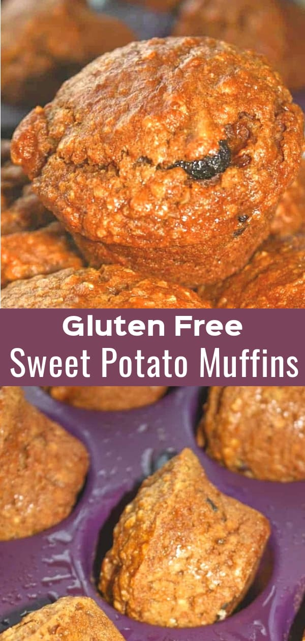 Gluten Free Sweet Potato Muffins loaded with raisins and spices.