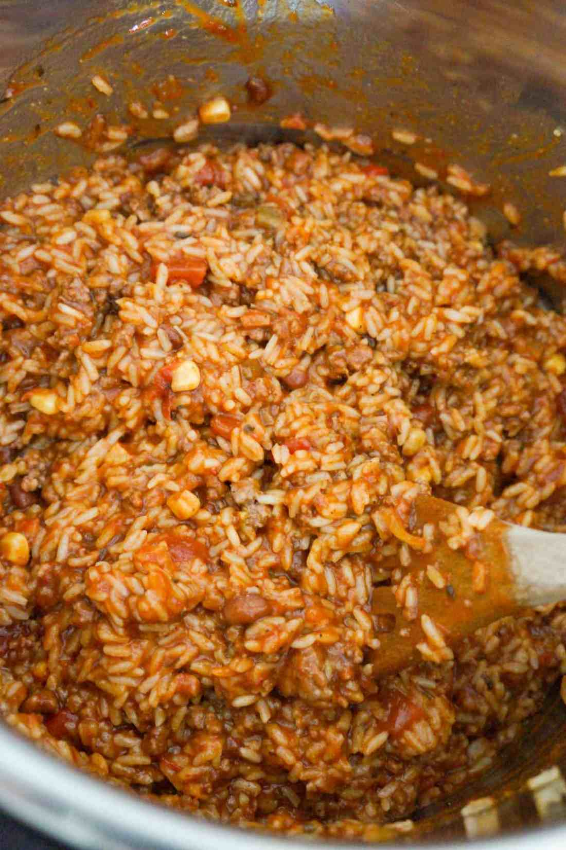 taco ground beef and rice in an Instant Pot