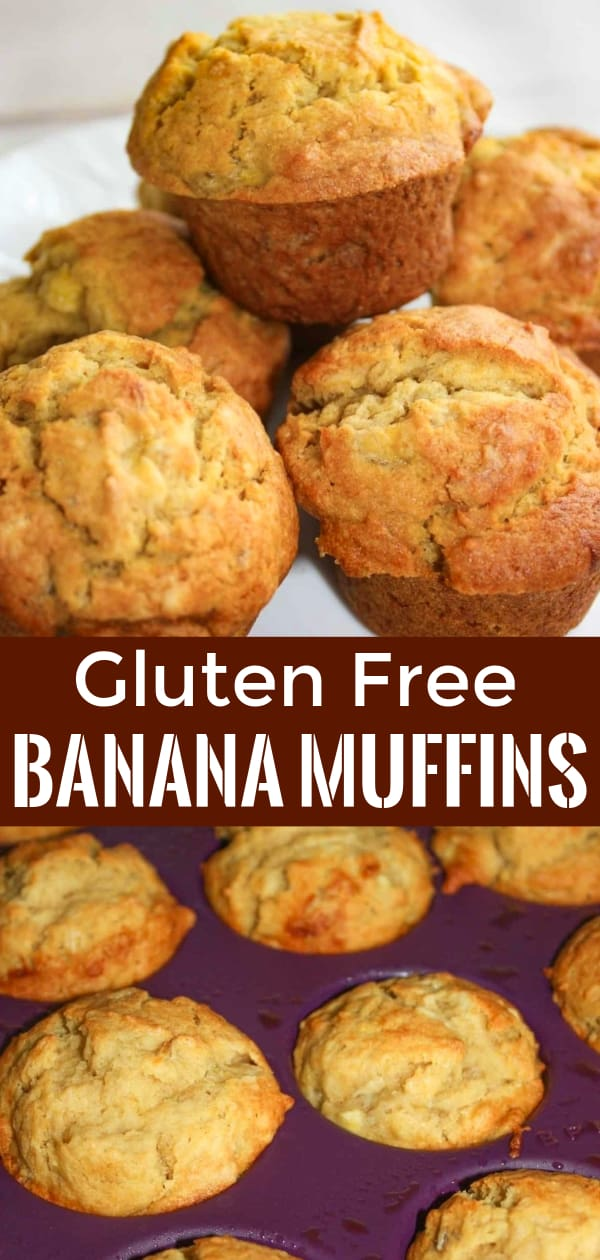Gluten Free Banana Muffins are a delicious snack or breakfast treat. The tasty homemade banana muffins are made with Bob's Red Mill gluten free flour.