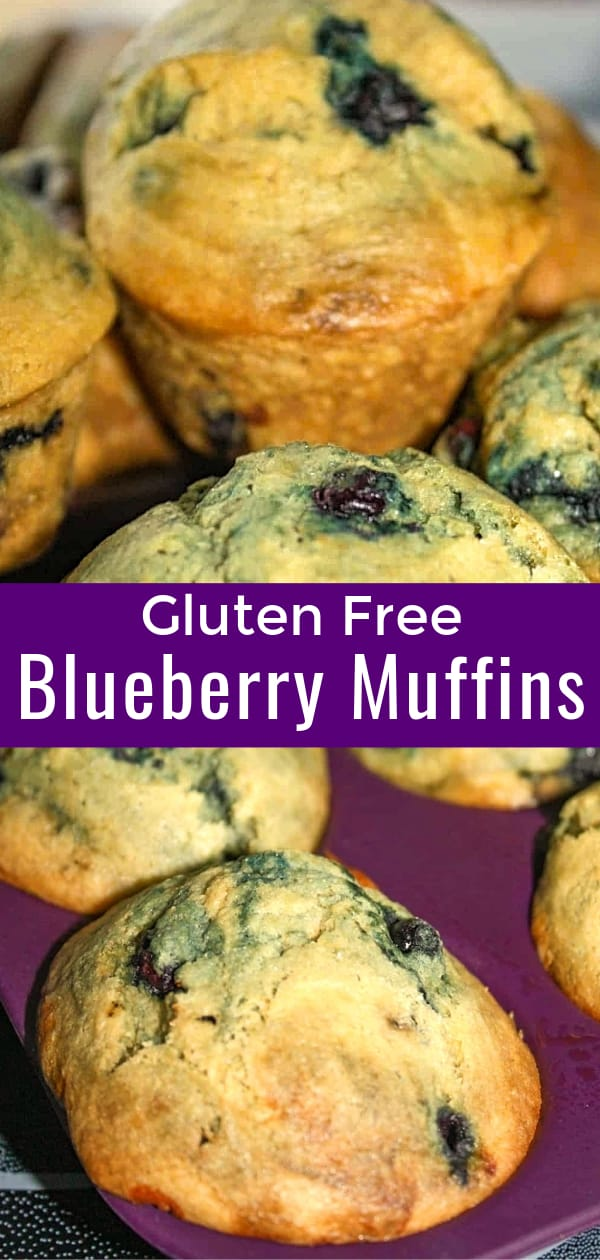 Gluten Free Blueberry Muffins are a delicious breakfast or snack food. These gluten free muffins are made with Bob's Red Mill gluten free all purpose flour and loaded with blueberries.